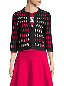 Moschino Cut-Out Cotton Blend Jacket BLACK