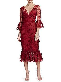 Marchesa Embroidered Floral Lace Mermaid Midi Dres