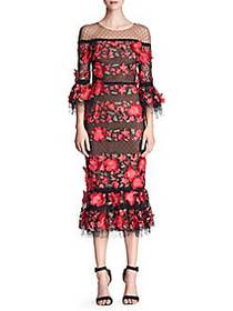 Marchesa Quarter-Sleeve Floral Embroidered Cocktai