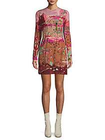 Valentino Printed Silk Long-Sleeve Dress PINK MULT