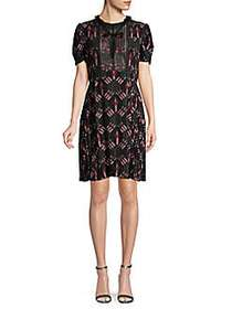 Valentino Printed Silk A-Line Dress NERO