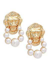 Kenneth Jay Lane Faux Pearl Lionhead Clip-On Earri
