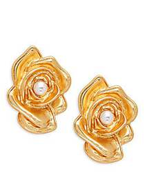Kenneth Jay Lane Flower Faux Pearl Clip Earrings N