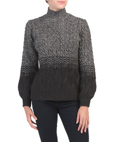 TAHARI Cable Knit Sweater With Balloon Sleeves
