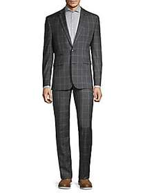 Vince Camuto Slim-Fit Windowpane Wool Suit CHARCOA