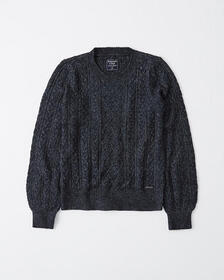 Cable Knit Crewneck Sweater, OATMEAL