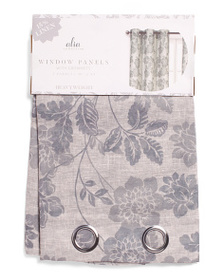 SL HOME FASHIONS Set Of 2 Linen Blend Curtains