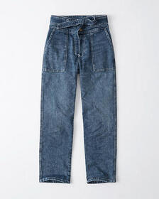 Ultra High Rise Ankle Straight Jeans, DARK WASH WI