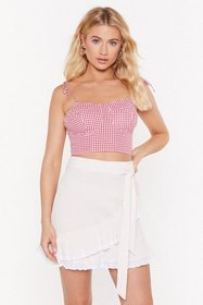 Nasty Gal Womens Red Going Cup Gingham Bra Top