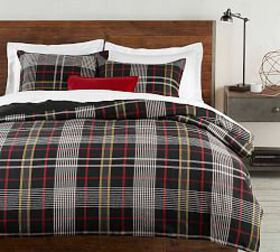 Pottery Barn Carson Plaid Cotton Duvet Cover & Sha