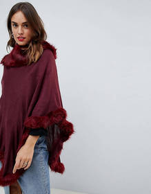 Jayley Faux Fur Trim Wool Blend Poncho
