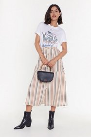 Nasty Gal Womens Rust Stripe of Luck Button-Down M