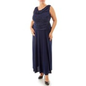 Plus Size Long Shimmering Ruched Dress