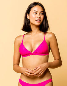 FULL TILT Fixed Triangle Fuchsia Bikini Top_