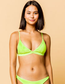 FULL TILT Fixed Triangle Neon Green Bikini Top_