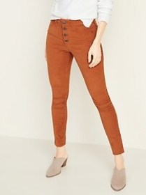High-Waisted Button-Fly Rockstar Super Skinny Cord