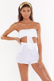 Nasty Gal Womens Cream Tied to the Bar Bandeau Top
