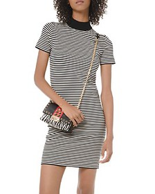 MICHAEL Michael Kors - Striped Mock-Neck Mini Dres