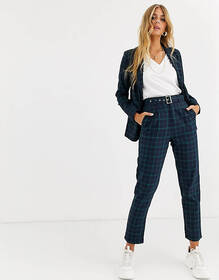 Heartbreak belted tailored pants in navy and green