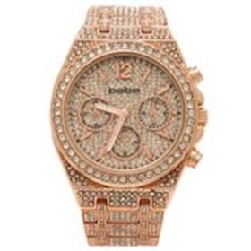 BEBE Womens Crystal Cushion Case Chronograph Watch