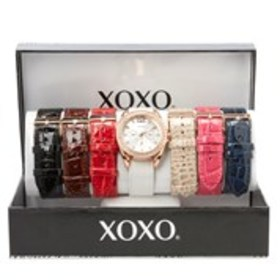 XOXO Womens Crystal Rose Gold Chronograph Watch &