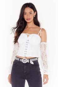 Nasty Gal Womens White She's So Cold Shoulder Lace