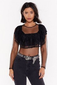 Nasty Gal Womens Black Sorry Dot Sorry Mesh Lace B