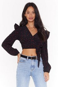 Nasty Gal Womens Black Heart on Your Sleeve Croppe