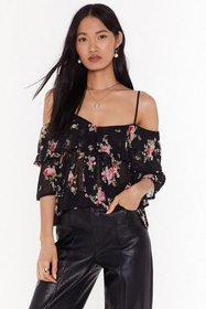 Nasty Gal Womens Black Offering Floral Support Col