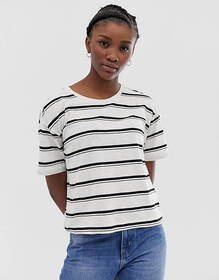 Weekday stripes t-shirt in off white and black