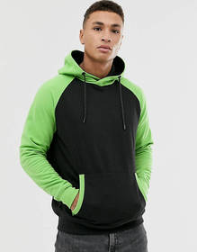 Soul Star contrast hoodie in lime and black