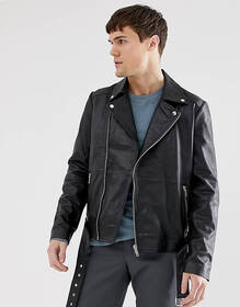 Barney's Originals real leather zipped biker jacke