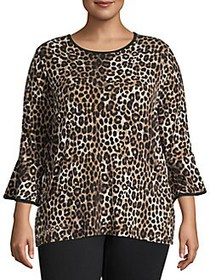 MICHAEL Michael Kors Plus Cheetah-Print Flared-Sle