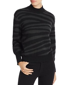 AQUA - Zebra-Stripe Balloon-Sleeve Cashmere Sweate