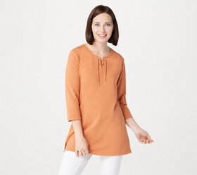 """As Is"" Denim & Co. Essentials Jersey Tunic w/ 3/4"