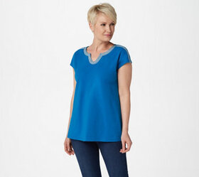 """""""As Is"""" Denim & Co. Split V-Neck Top with Embroide"""