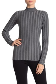 Love Token Mock Neck Ribbed Knit Sweater