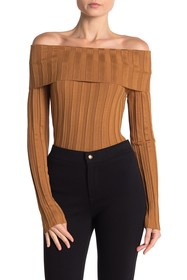 Love Token Ribbed Knit Off-the-Shoulder Sweater