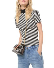 MICHAEL Michael Kors - Striped Mock-Neck Top