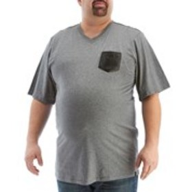 V19.69 Heather Charcoal V-Neck T-Shirt with Faux L