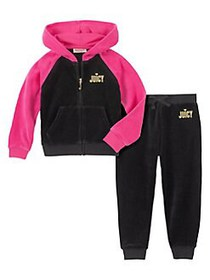 Juicy Couture Little Girl's 2-Piece Velour Hoodie
