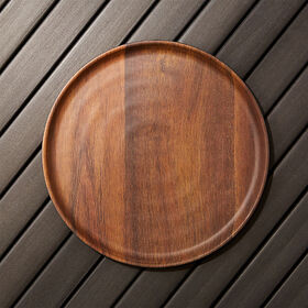 Crate Barrel Wood Grain Melamine Dinner Plate