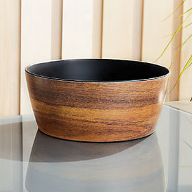 Crate Barrel Wood Grain Melamine Serving Bowl