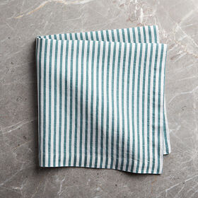 Crate Barrel Liam Linen Blue-Striped Napkin