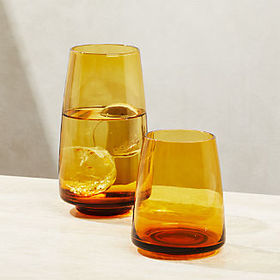 Crate Barrel Byrdie Amber Drinking Glasses