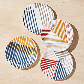 Crate Barrel Marling Salad Plates, Set of 4
