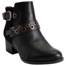 Womens Buckle Calf Hair Comfort Booties