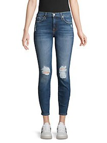 7 For All Mankind Distressed Ankle Jeans BLUE MOND