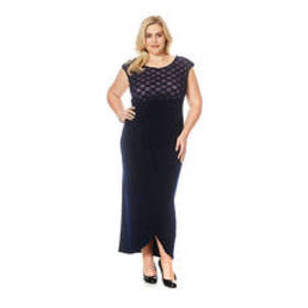 Plus Size Connected Apparel Side Drape Sheath Gown
