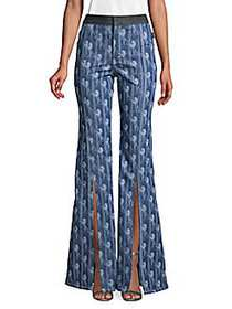 Chloé Printed Bootcut Pants BLUE